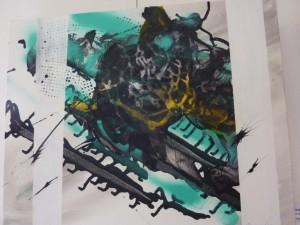 Abstraktion Tusche und Acryl