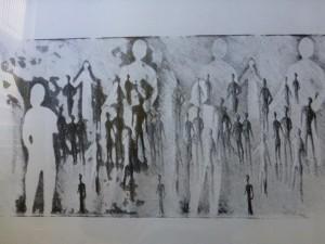 Menschen in der Mene Lithographie