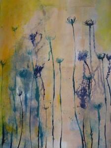 Wüstenblumen Acryl, Tusche